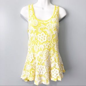Meadow Rue yellow floral embroidered boho tank XS